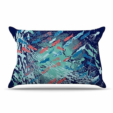 East Urban Home Frederic Levy-Hadida 'Underwater Life' Fish Pillow Case