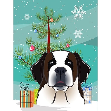 Caroline's Treasures Under The Christmas Tree Vertical Flag; Saint Bernard