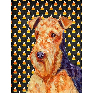 East Urban Home Candy Corn Halloween 2-Sided Garden Flag; Airedale