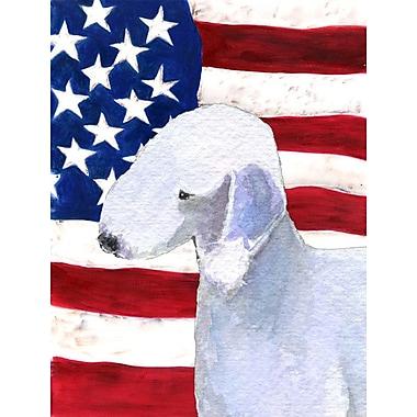 Caroline's Treasures American Flag 2-Sided Garden Flag; Bedlington
