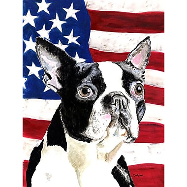 Caroline's Treasures American Flag 2-Sided Garden Flag; Boston Terrier (Black & White)