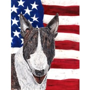 Caroline's Treasures American Flag 2-Sided Garden Flag; Bull Terrier (Gray & White)