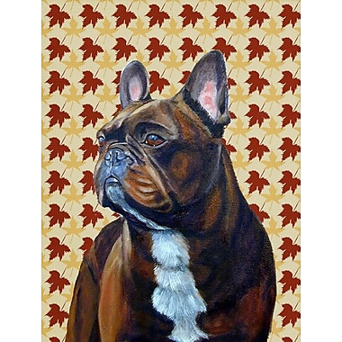 East Urban Home Fall Leaves House Vertical Flag; French Bulldog (Black and Brown)