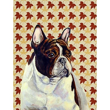 East Urban Home Fall Leaves House Vertical Flag; French Bulldog (Brown and White)