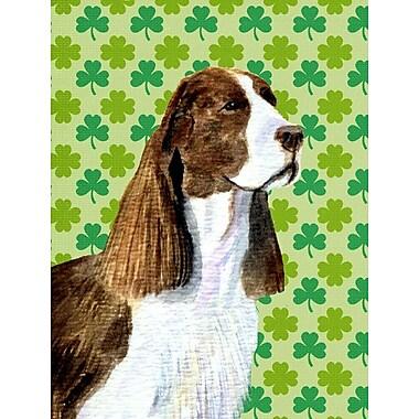 East Urban Home St. Patrick's Day Shamrock 2-Sided Garden Flag; Springer Spaniel (Brown and White)
