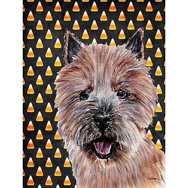 East Urban Home Candy Corn Halloween 2-Sided Garden Flag; Norwich Terrier 1