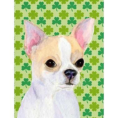 Caroline's Treasures St. Patrick's Day Shamrock House Vertical Flag; Chihuahua (White & Cream)