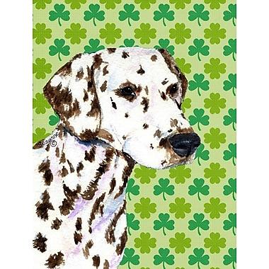 Caroline's Treasures St. Patrick's Day Shamrock House Vertical Flag; Dalmatian (White & Brown)