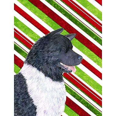 Caroline's Treasures Candy Cane Holiday Christmas House Vertical Flag; Akita (White & Black)