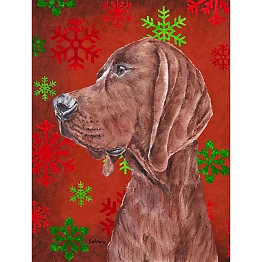 The Holiday Aisle Snowflakes Christmas House Vertical Flag; Coonhound (Brown)