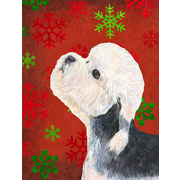 The Holiday Aisle Snowflakes Christmas House Vertical Flag; Dandie Dinmont Terrier