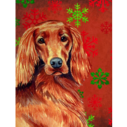 The Holiday Aisle Snowflakes Christmas House Vertical Flag; Irish Setter Dog (Beige)