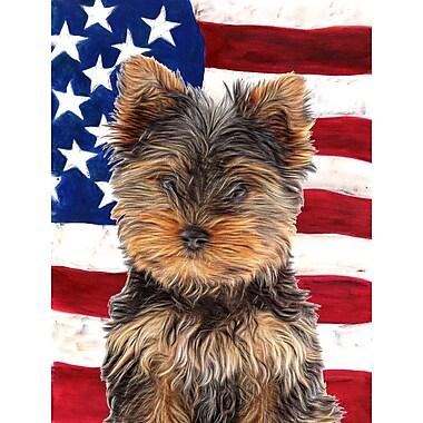 Caroline's Treasures USA American House Vertical Flag; Yorkie Puppy