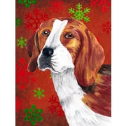 The Holiday Aisle Snowflakes Christmas House Vertical Flag; Beagle