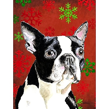 The Holiday Aisle Snowflakes Christmas House Vertical Flag; Boston Terrier (White & Black)