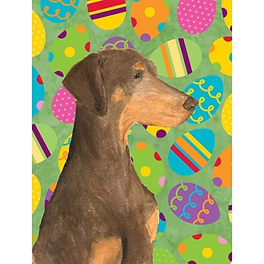 Caroline's Treasures Easter Eggtravaganza House Vertical Flag; Doberman 2