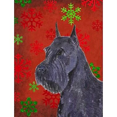 The Holiday Aisle Snowflakes Christmas House Vertical Flag; Schnauzer (Black)