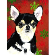 The Holiday Aisle Snowflakes Christmas House Vertical Flag; Chihuahua 1