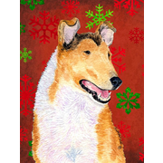 The Holiday Aisle Snowflakes Christmas House Vertical Flag; Collie Smooth