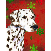 The Holiday Aisle Snowflakes Christmas House Vertical Flag; Dalmatian (White & Brown)