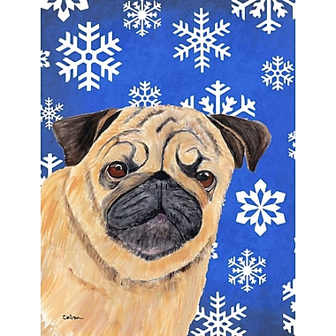 East Urban Home Winter Snowflakes Holiday 2-Sided Garden Flag; Pug Winter (Beige & Black)