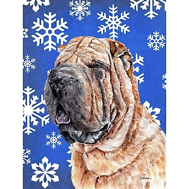 East Urban Home Winter Snowflakes Holiday 2-Sided Garden Flag; Shar Pei Dog