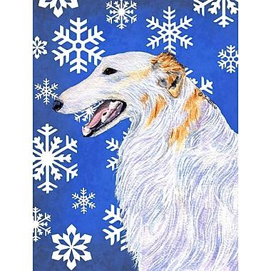 East Urban Home Winter Snowflakes Holiday 2-Sided Garden Flag; Borzoi