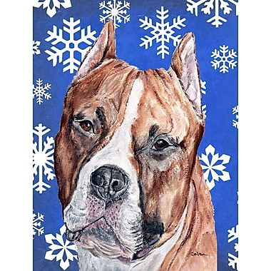 East Urban Home Winter Snowflakes Holiday 2-Sided Garden Flag; Bull Terrier 3