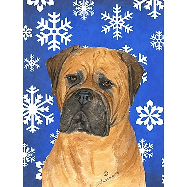 East Urban Home Winter Snowflakes Holiday 2-Sided Garden Flag; Bullmastiff