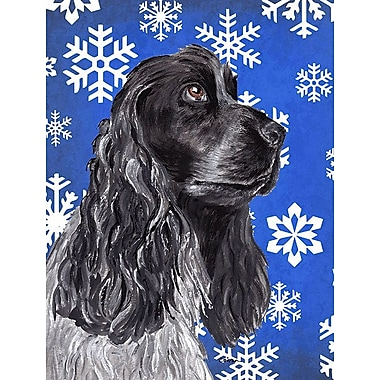 East Urban Home Winter Snowflakes Holiday 2-Sided Garden Flag; Cocker Spaniel (Black & Grey)