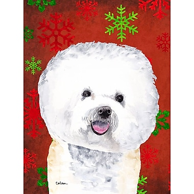 Caroline's Treasures Red and Green Snowflakes Holiday Christmas 2-Sided Garden Flag; Bichon Frise 1
