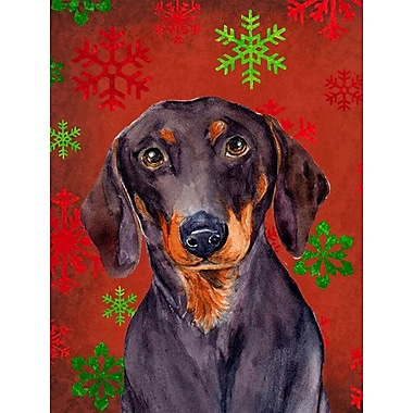 Caroline's Treasures Red and Green Snowflakes Holiday Christmas 2-Sided Garden Flag; Dachshund 5