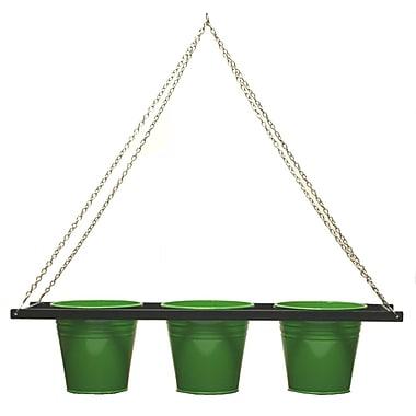 Houston International Enameled Galvanized Triple Metal Hanging Planter; Sage