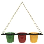 Houston International Enameled Galvanized Triple Metal Hanging Planter; Sage/Red/Saffron
