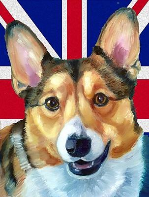 East Urban Home English Union Jack British Flag 2-Sided Garden Flag; Corgi (Beige and white)