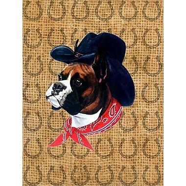 Caroline's Treasures Dog Country Lucky Horseshoe 2-Sided Garden Flag; Boxer