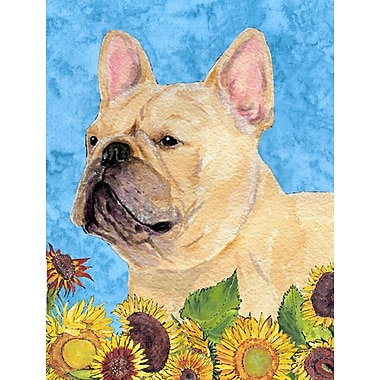 East Urban Home Dog and Sunflowers 2-Sided Garden Flag; French Bulldog (Beige)