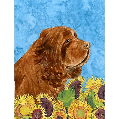 East Urban Home Dog and Sunflowers 2-Sided Garden Flag; Sussex Spaniel