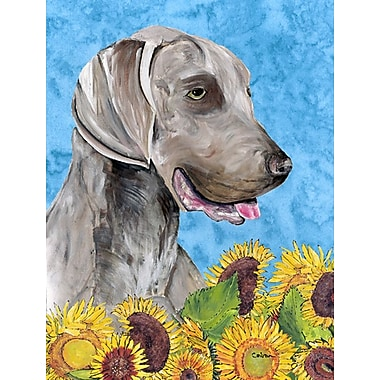 East Urban Home Dog and Sunflowers 2-Sided Garden Flag; Weimaraner