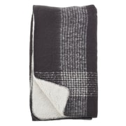 Alcott Hill Auburnhill Faux Mohair Plaid Design Pattern Sherpa Reversible Throw; Grey