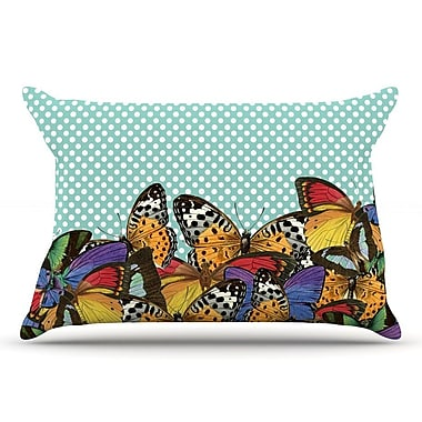 East Urban Home Suzanne Carter 'Butterfly Polka' Pillow Case; Teal
