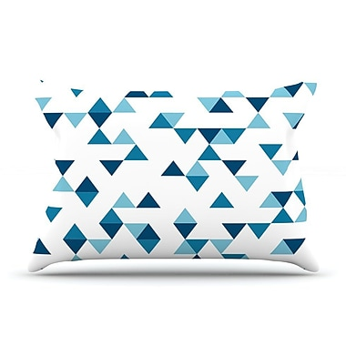 East Urban Home Project M 'Triangles Blue' Pillow Case; Blue/Navy