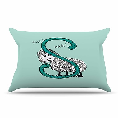 East Urban Home Rosie Brown 'Sis For Sheep Blue' Pillow Case; Teal