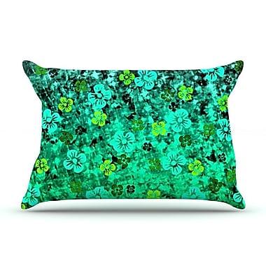 East Urban Home Ebi Emporium 'Flower Power' Pillow Case; Green