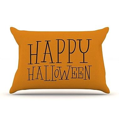 East Urban Home 'Happy Halloween' Pillow Case; Orange
