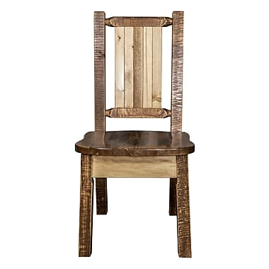 Loon Peak Abella Pine Wood Solid Wood Dining Chair; Brown Lacquer