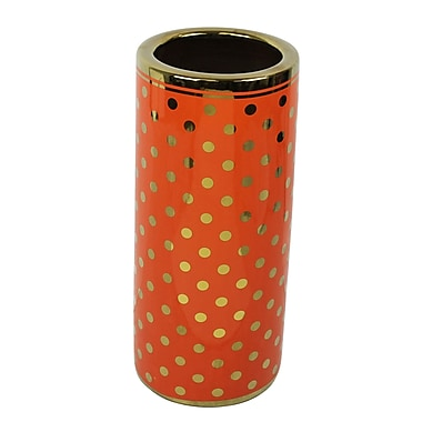 Everly Quinn Ceramic Umbrella Stand; Orange