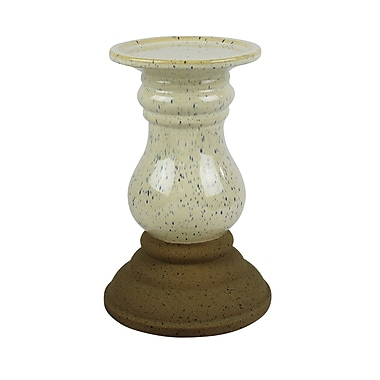 Gracie Oaks Candle Holder w/ Speckles Ceramic Candlestick; Small