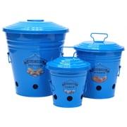 Gracie Oaks Allamuchy Enameled Kitchen 3-Container Food Storage Set; Blue