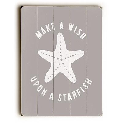 Highland Dunes 'Make a Wish Starfish' Textual Art on Wood; 20'' H x 14'' W x 1.5'' D